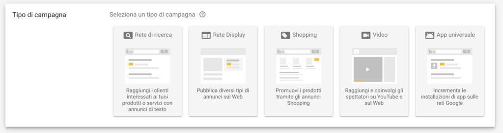 tipi di campagna google ads adwords